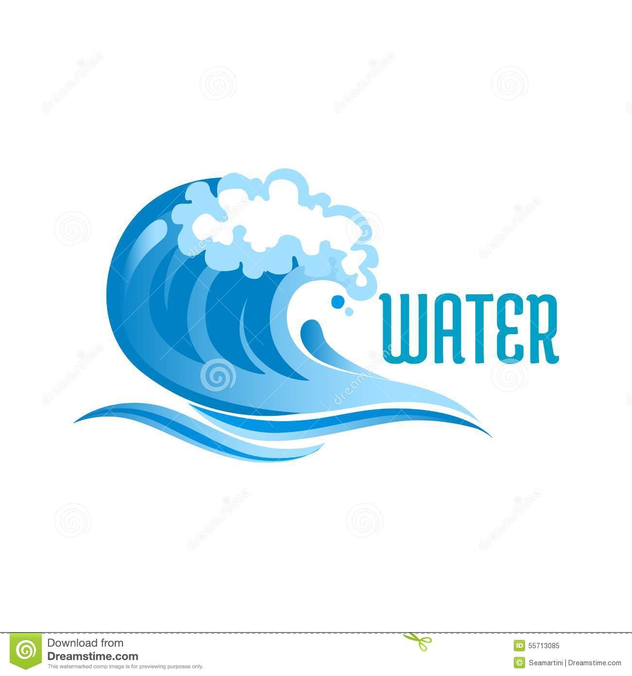 Blue Ocean Wave With Foam Bubbles Stock Vector.