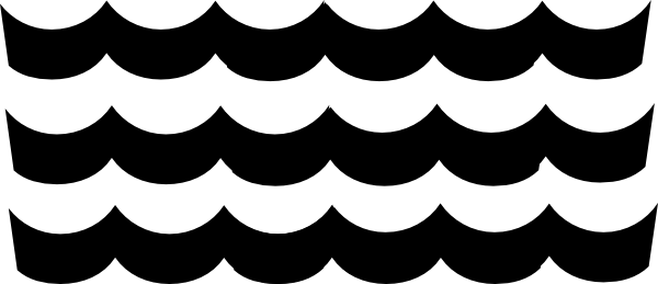 Wave clip art black and white.