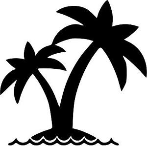 Details about Palm Tree With Waves Vinyl Decal Sticker U Pick SIZE & 20+  COLORS to pick from.