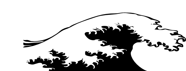 Wave Crashing Black And White SVG Clip arts download.