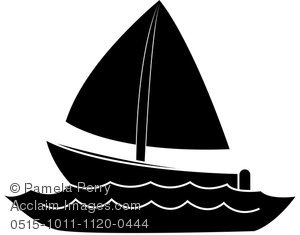 Clip Art Image of a Silhouette of a Boat on Water.