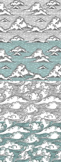 Japanese or Chinese style cloud design set by Ma Meng U, via.