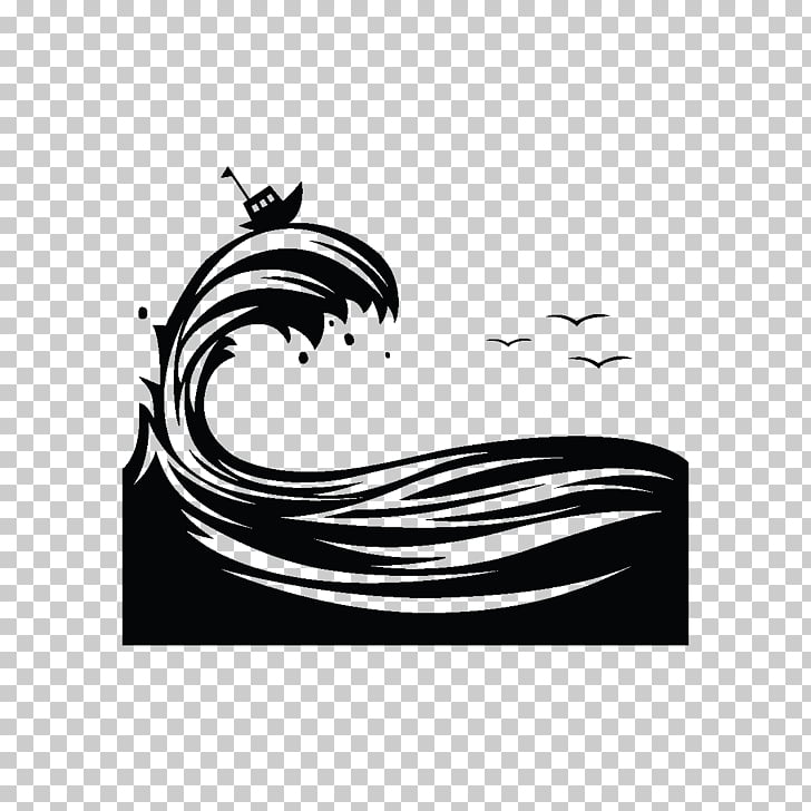 Silhouette Wind wave Graphic design, waves, sailboat.
