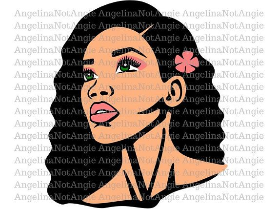 SVG DXF Corinne Biracial Lady Clip Art African American.