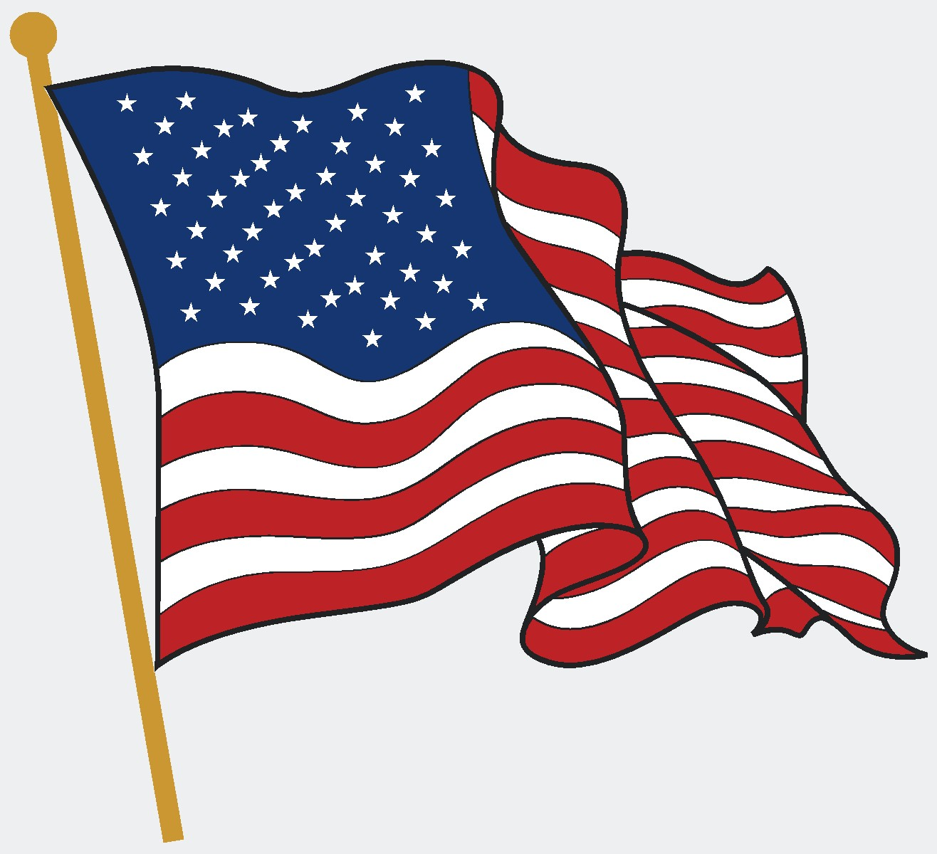 Waving American Flag Drawing.
