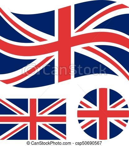 Great britain flag set. Rectangular, waving and circle Union Jack flag. UK,  british national symbol. Vector icons.