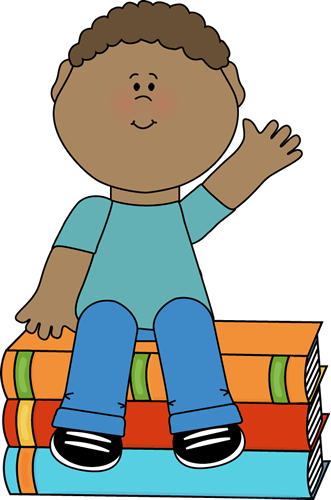 Boy Sitting on Books and Waving Clip Art.