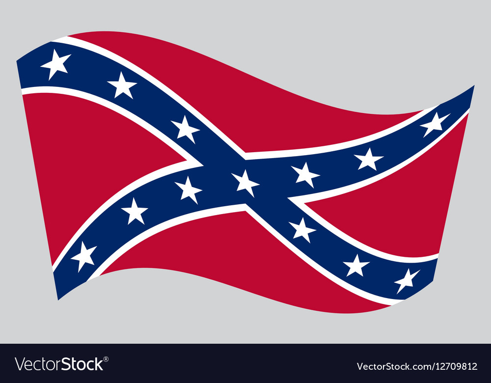 Confederate rebel flag waving on gray background.