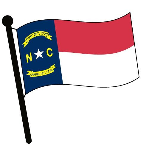 North Carolina Waving Flag Clip Art.