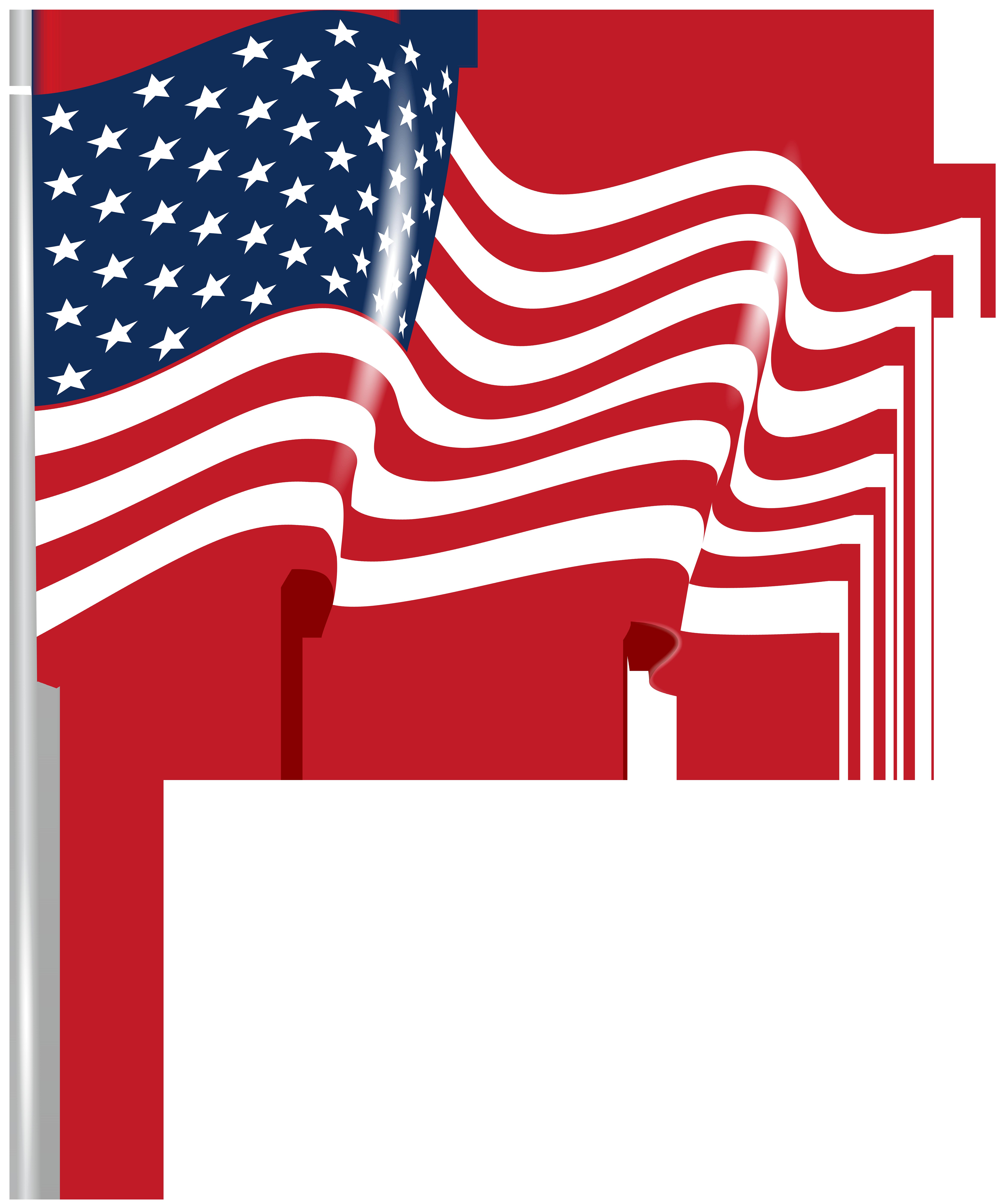 US Waving Flag Transparent PNG Clip Art Image.