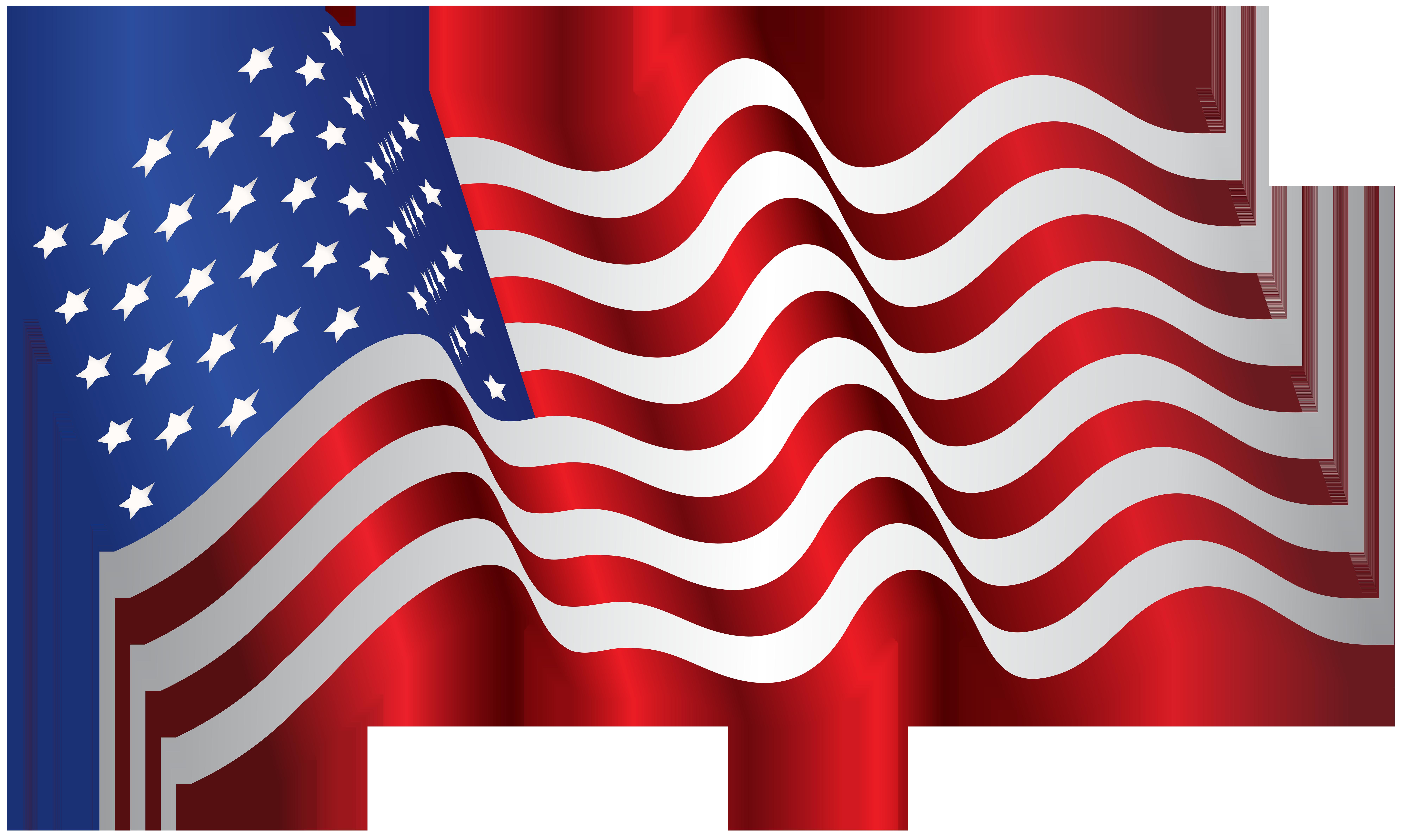 USA America Waving Flag PNG Clip Art Image.