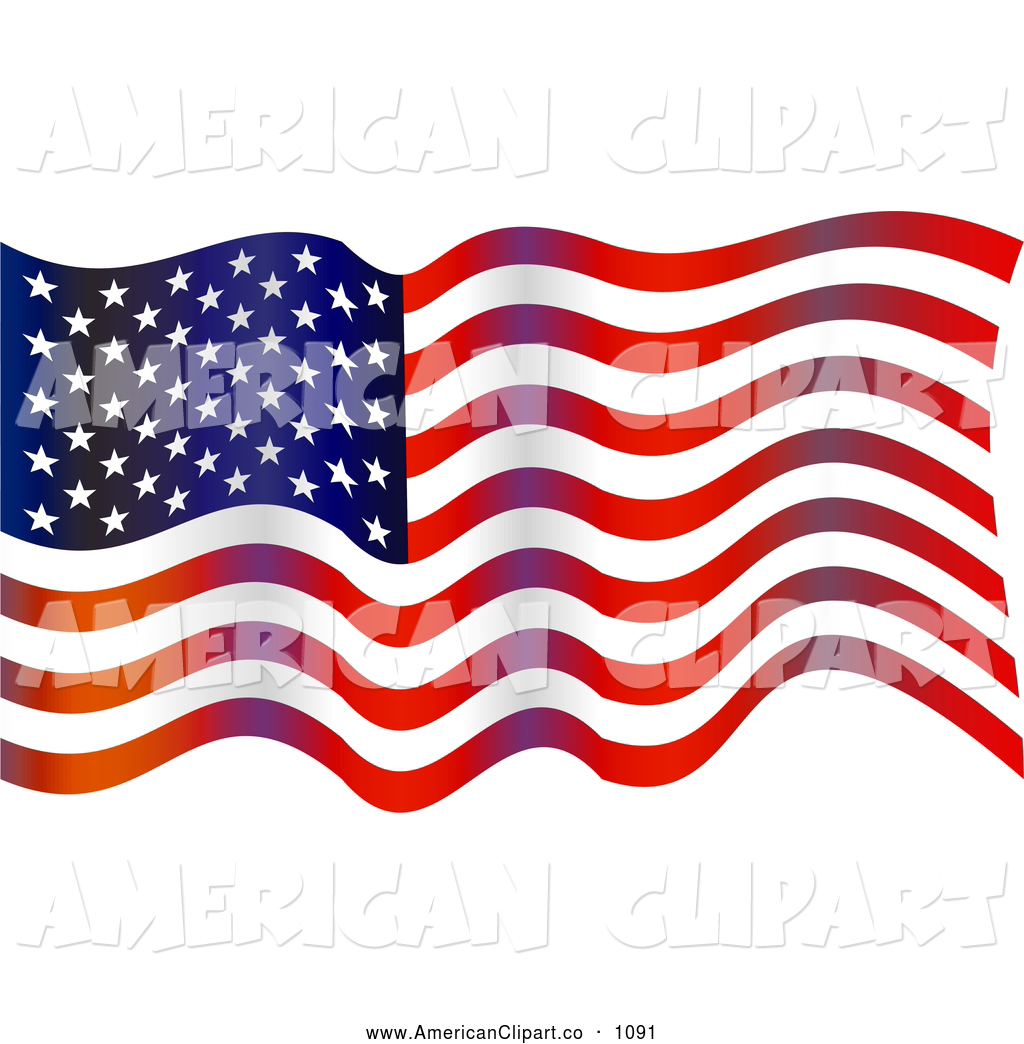 Waving American Flag Clipart Free.