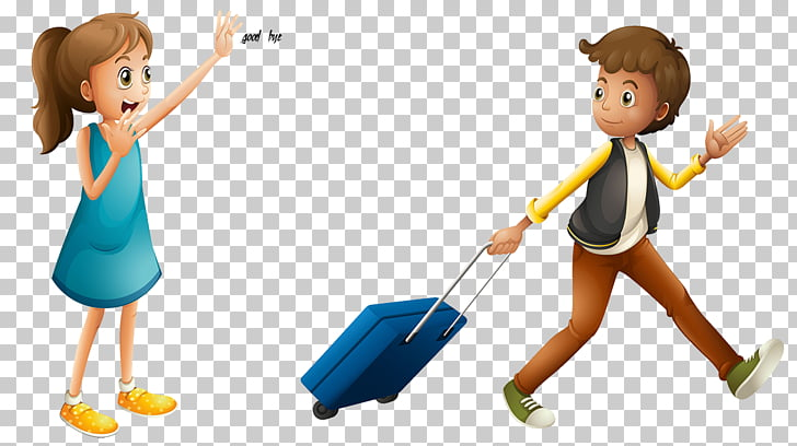 Illustration two people waved goodbye respectively PNG.