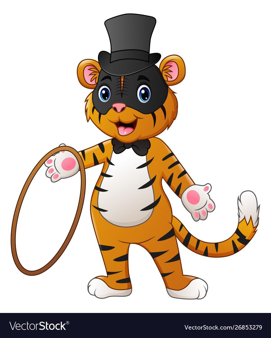 Cute circus tiger cartoon holding a ring.