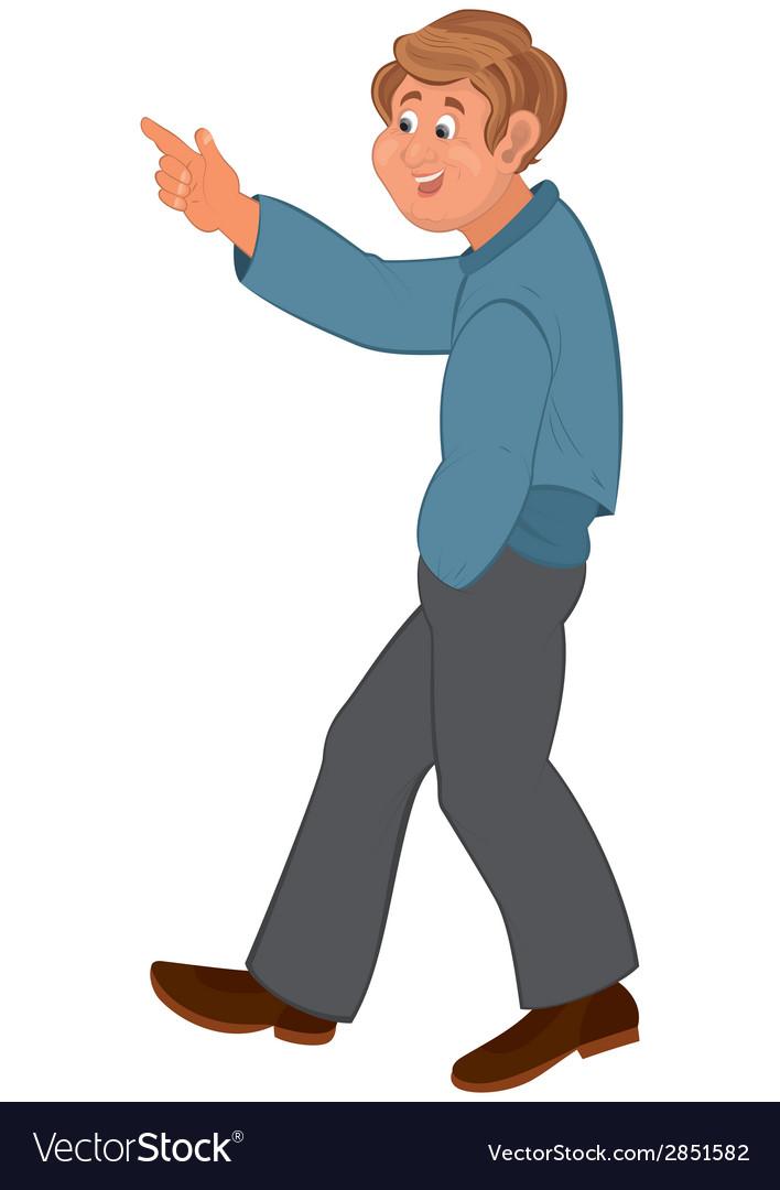 Happy cartoon man walking and pointing.