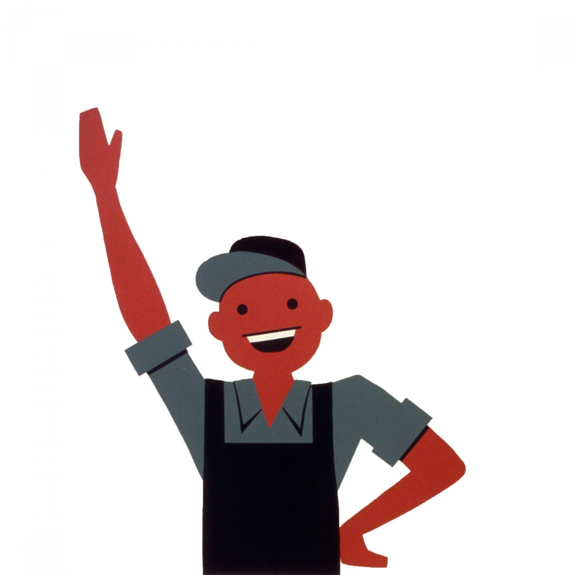 Happy Man Waving Clipart Free Stock Photo.