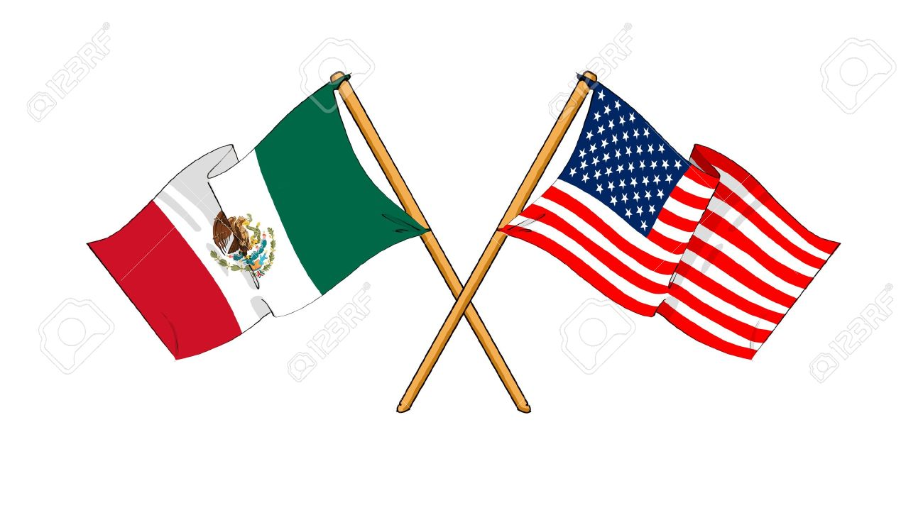 Mexican And American Flag Clipart.