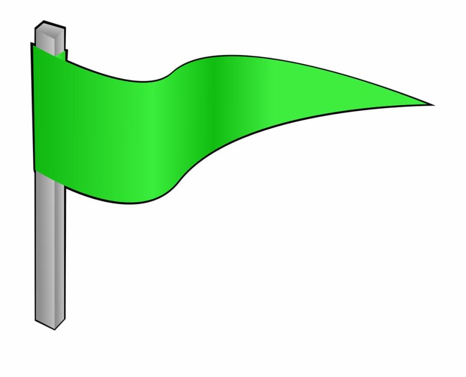 Green Flag Pennon Waving Pennant Banner.