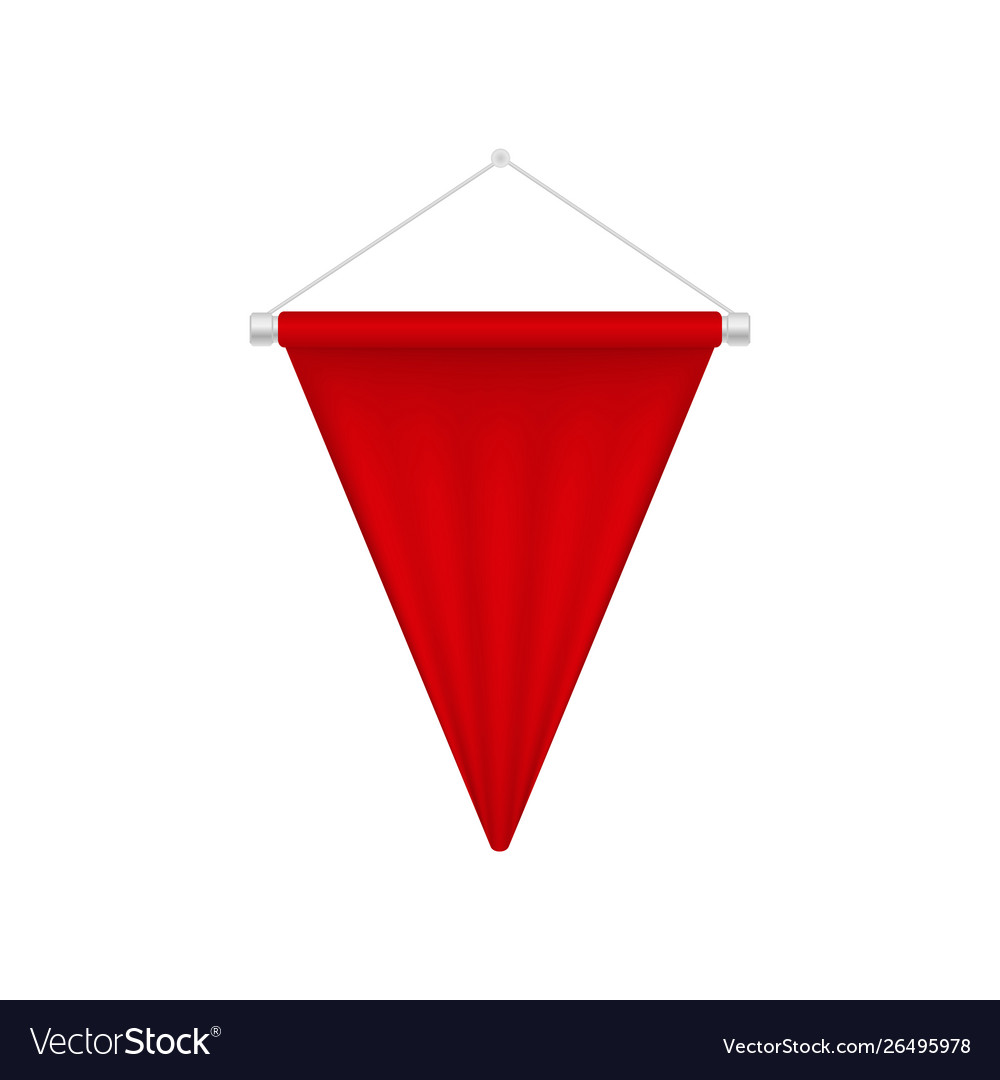 Realistic red pennant template triangle blank.