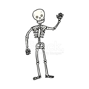 cartoon waving skeleton Clipart Image.