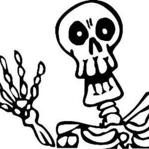 Skeleton, Skeleton Waving Hand Coloring Page: Skeleton.