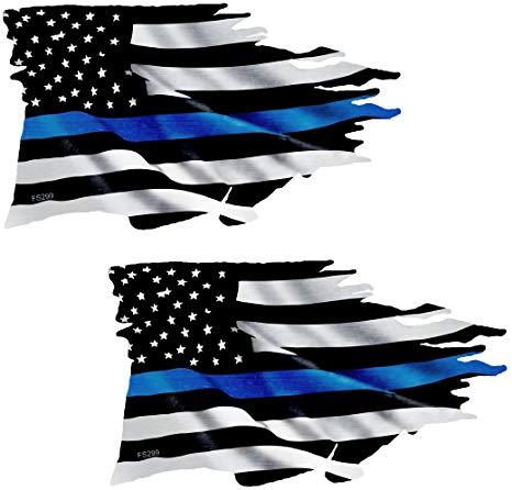 AZ House of Graphics Thin Blue Line Tattered Flag Sticker 2 Pack.