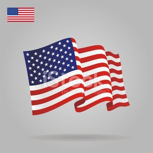 Flat and waving American Flag. Clipart Image.