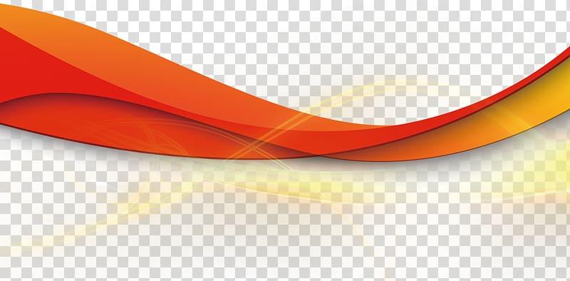 Geometric ribbon line light, red wavy line illustration.