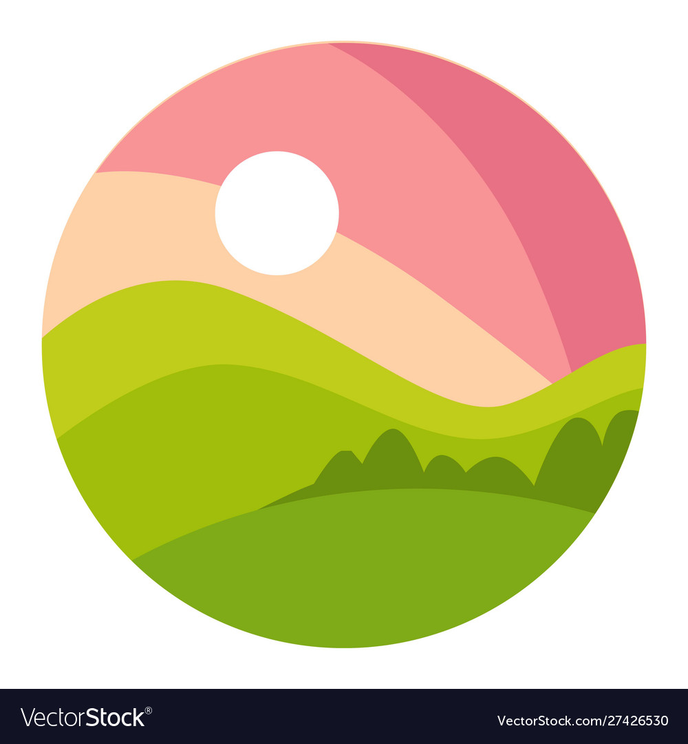 Landscape with gradual pink sunset and green.