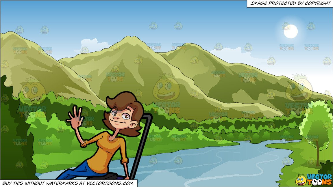 A Woman Sitting On A Lawn Mower and Mountains And River Background.