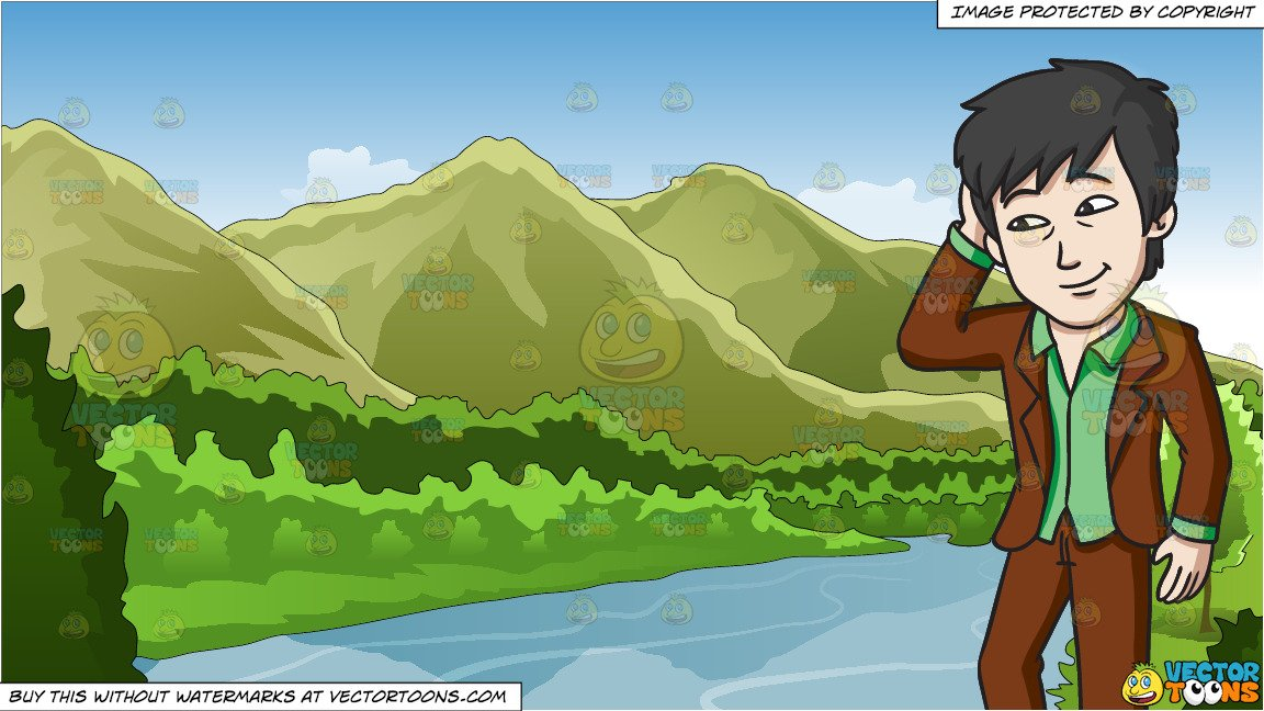 A Shy Chinese Man and Mountains And River Background.
