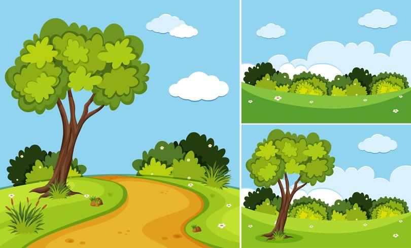 Three scenes with trees and grass.