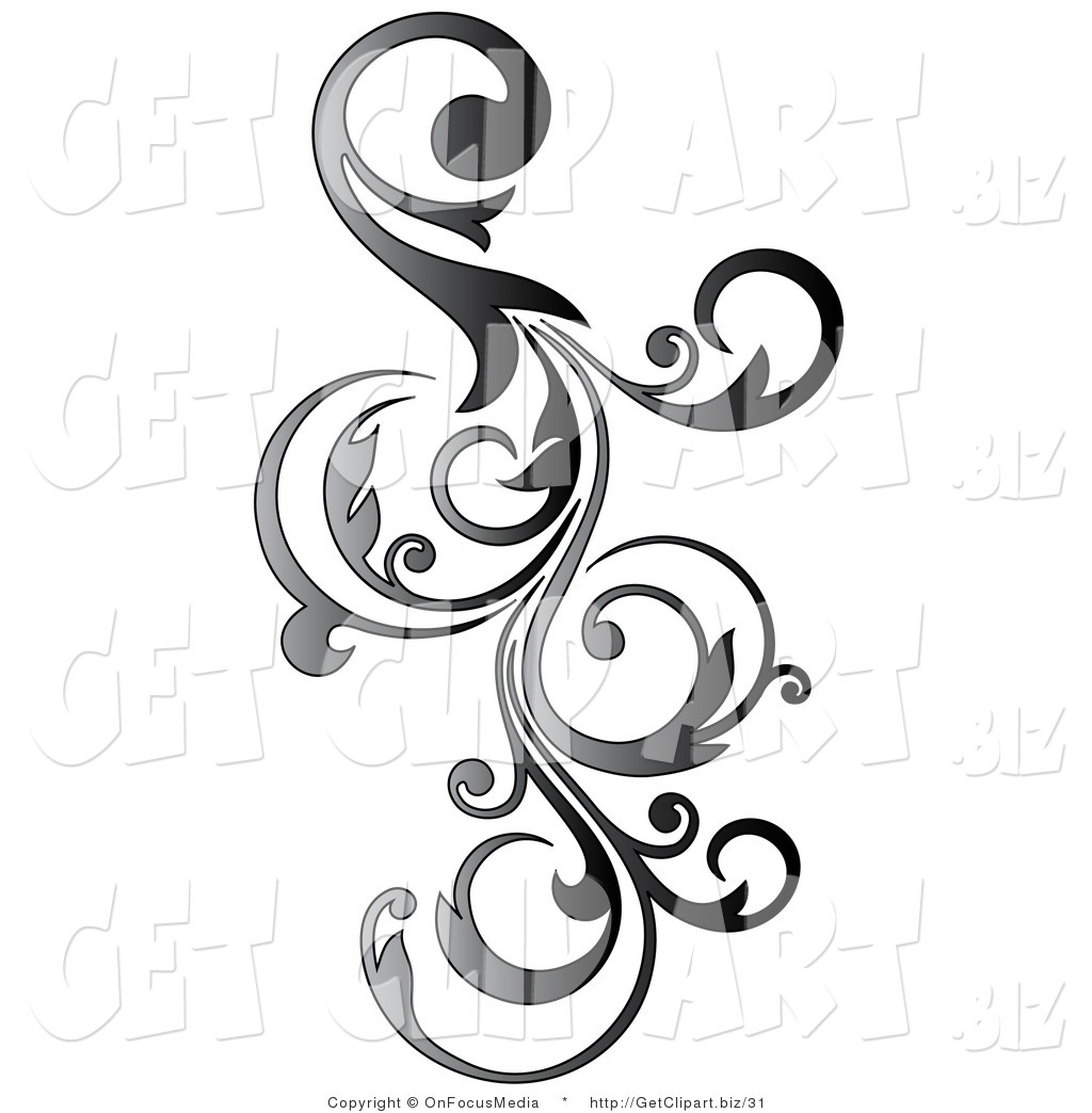Clip Art of a Gradient Gray Vertical Curly Vine Scroll.