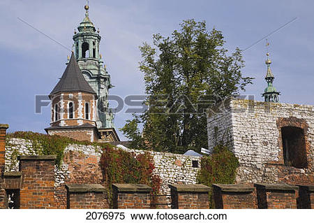 Stock Image of Wawel cathedral and sigismund chapel behind the.