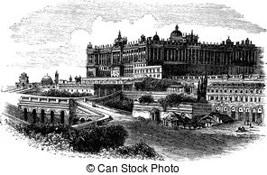 Vector Illustration of Wawel Castle or Royal Castle in Krakow.