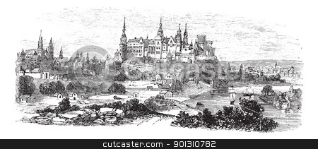 Wawel Castle or Royal Castle in Krakow, Poland, during the 1890s.