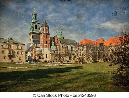 Stock Illustration of beautiful polish architecture from krakow.