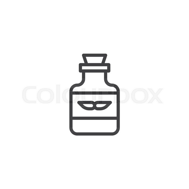 Mustache care bottle outline icon..