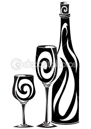 Bottle with glasses by Kopirin.