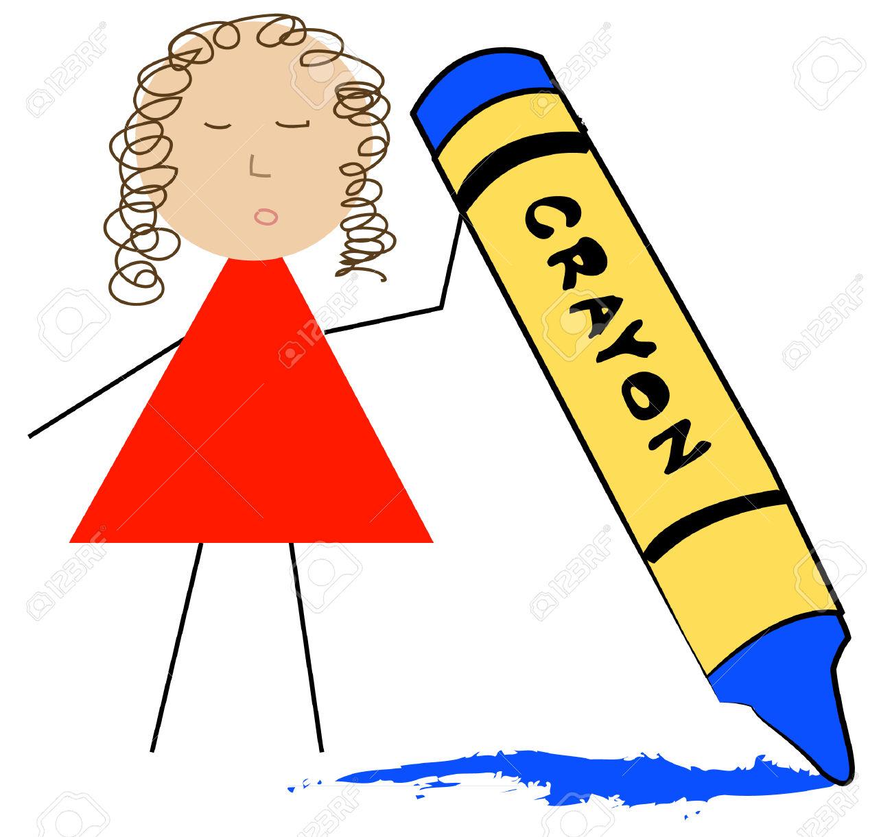 Stick Figure Teacher Holding Up Wax Crayon.