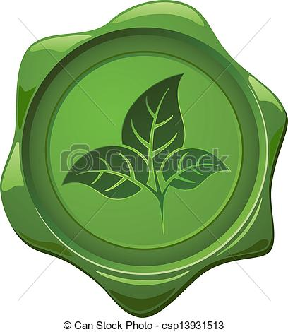 Vector Clip Art of Eco sign. Green wax seal with leaves shape.