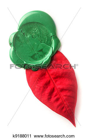 Stock Photography of Green wax seal with red leaf k9188011.