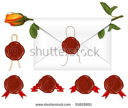 Vector Envelope Set Wax Seals Stock Vector 103741133.