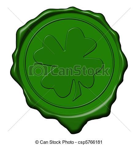 Clipart of Shamrock green wax seal.