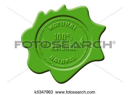 Clipart of 100% natural wax seal k5347963.