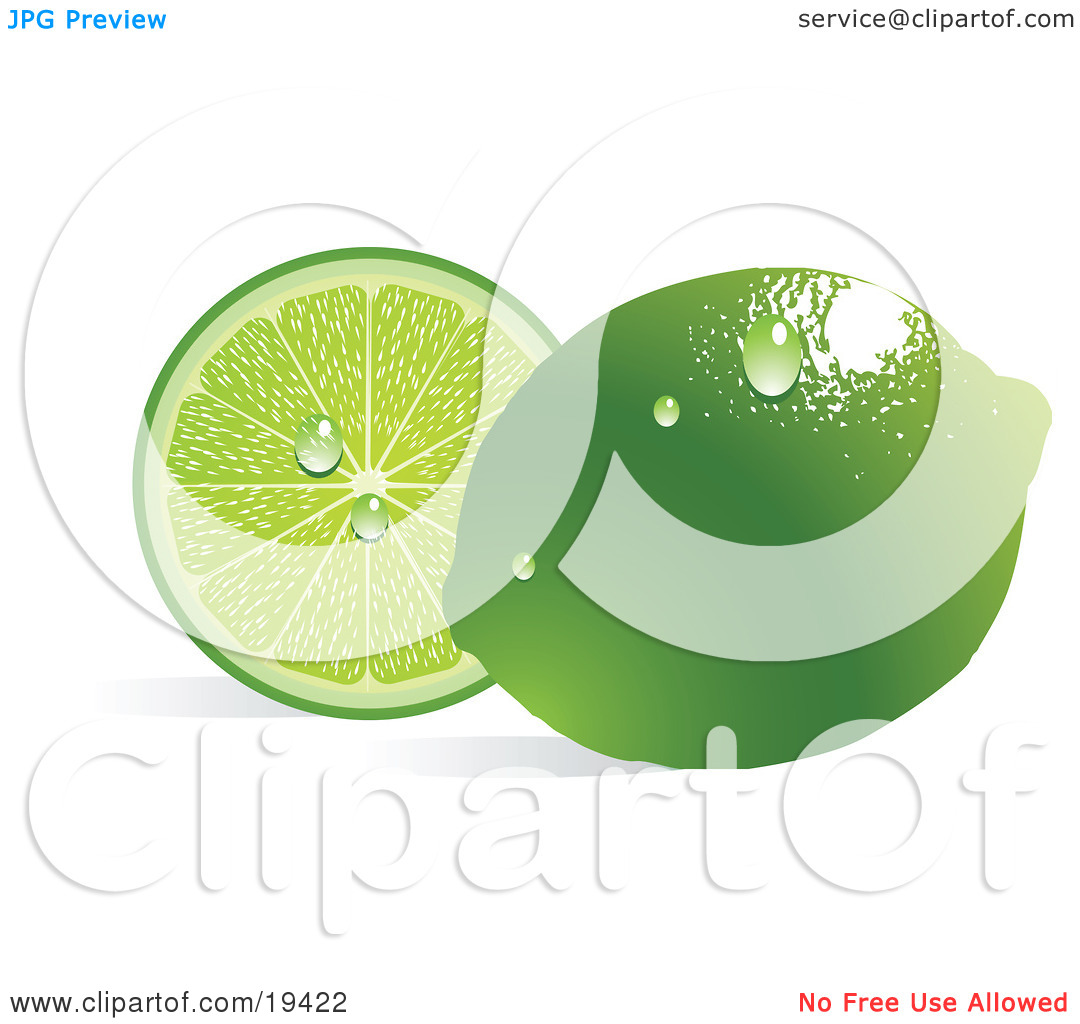 Clipart Illustration of a Waxy Whole Ripe Green Lime With.