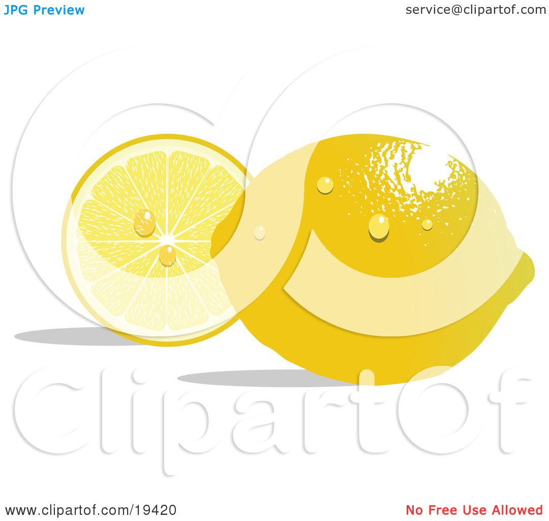 Clipart Illustration of a Waxy Whole Ripe Yellow Lemon With.
