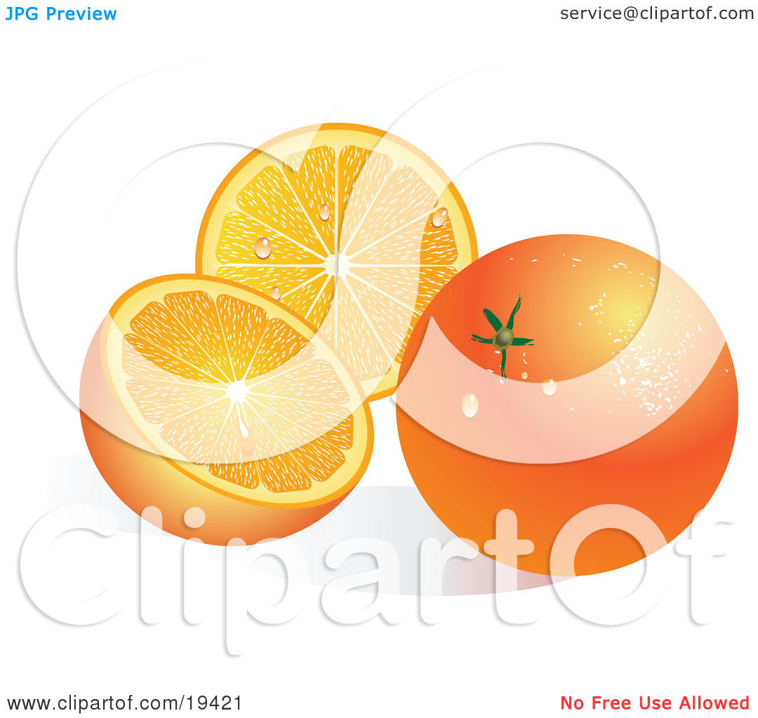Clipart Illustration of a Waxy Whole Ripe Orange Fruit With.