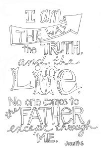 Jesus i am the way the truth the life calligraphic clipart.
