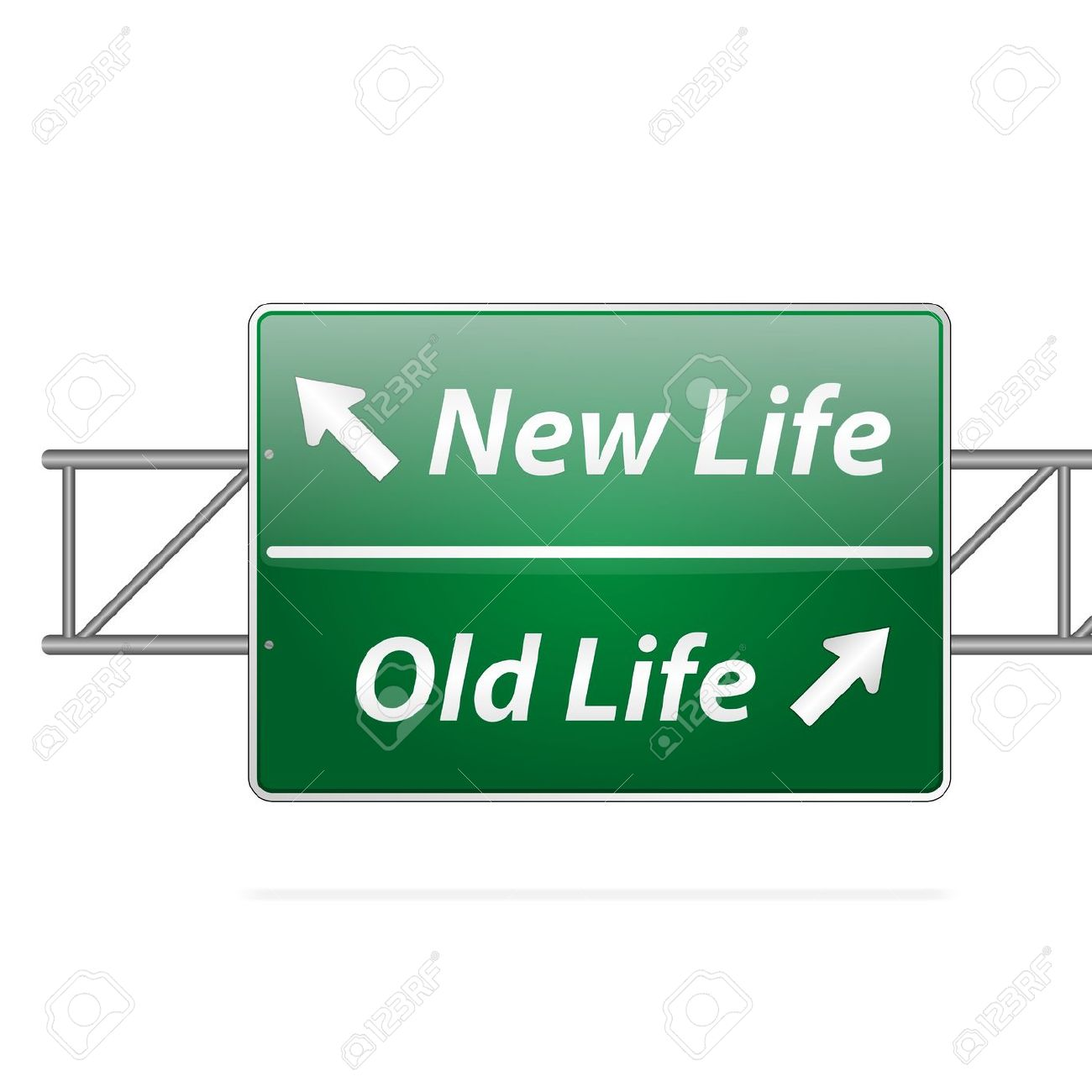 New Life Old Life Road Sign On Isolated Background Royalty Free.